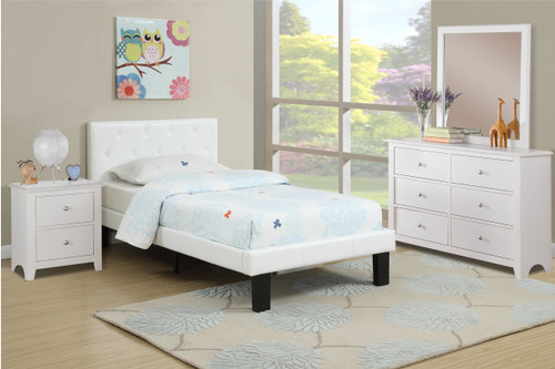 BEDROOM PLATFORM TWIN/FULL BED UPHOLSTERED IN WHITE LEATHER