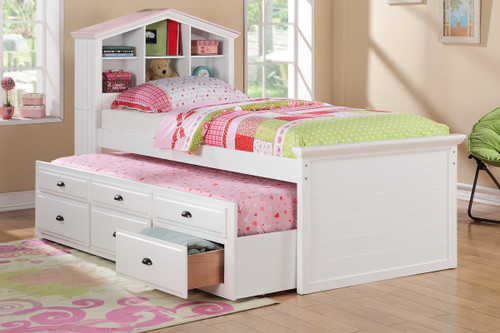 WHITE HOUSE SHAPE DESIGN TWIN BED WITH TRUNDLE