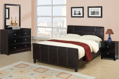 QUEEN SIZE ENCASED BEDFRAME UPHOLSTERED IN ESPRESSO FAUX LEATHER