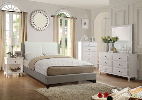 BOSTON UPLHOLSTERED BONDED LEATHER BED IN WHITE/GRAY