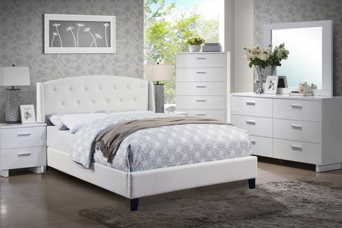 EDEN PLATFORM UPHOLSTERED BED  IN WHITE BONDED LEATHER