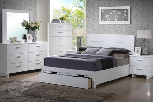 WHITE BEDROOM FRAME PLATFORM WITH STORAGE