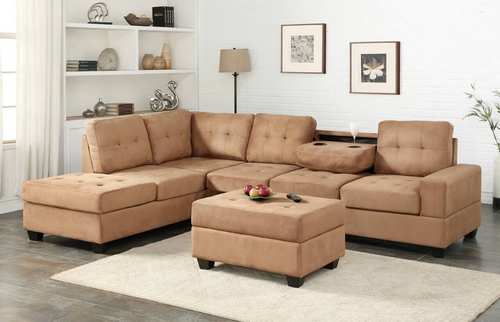 3 PCS HEIGHTS BONDED LEATHER SECTIONAL WITH DROP DOWN CUP HOLDER WITH OTTOMAN IN TAUPE