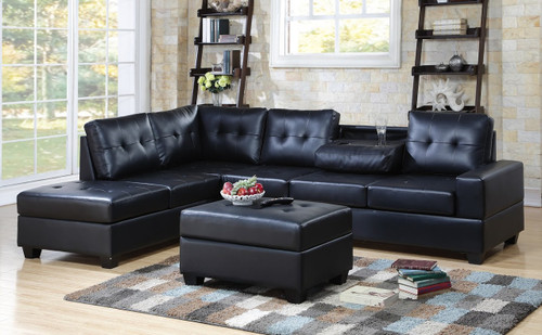 3 PCS HEIGHTS BONDED LEATHER SECTIONAL WITH DROP DOWN CUP HOLDER WITH OTTOMAN IN BLACK
