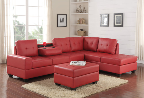 3 PCS HEIGHTS BONDED LEATHER SECTIONAL WITH DROP DOWN CUP HOLDER WITH OTTOMAN IN RED