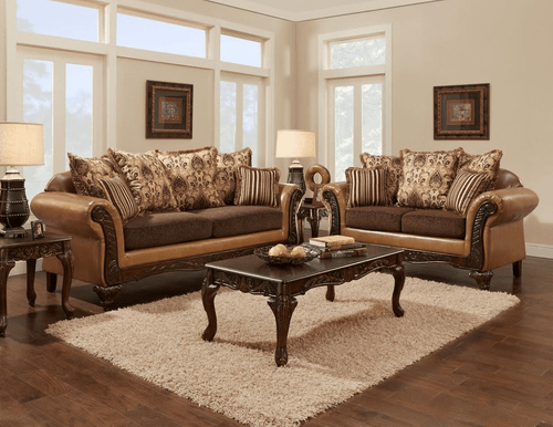 2PC Avanti Bronze Sofa and Loveseat Set