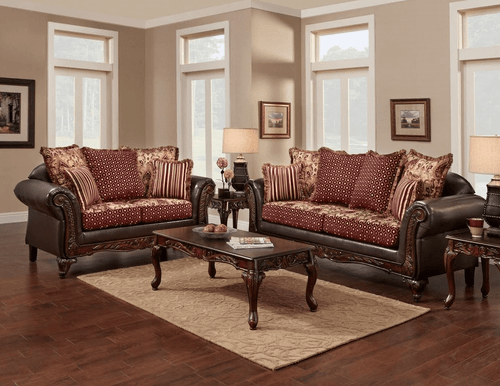 2PC Monte Cristo/Wine Sofa and Loveseat Set