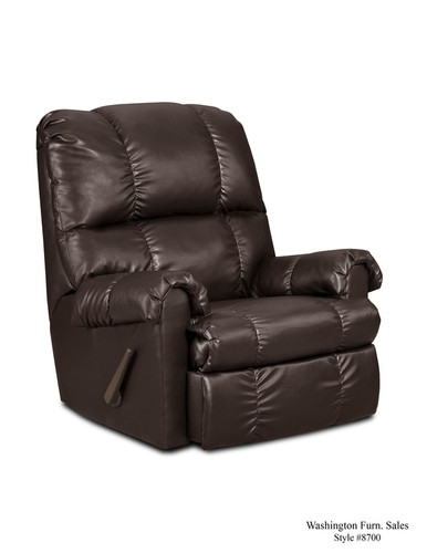 Denver Brown Vinyl Rocker Recliner - 8700-Denver Brown