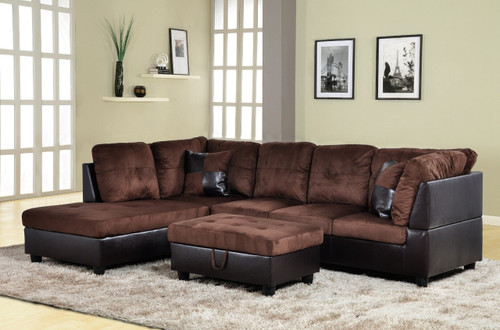 2 PCS Alexander BROWN SECTIONAL WITH ACCENT PILLOWS (LEFT FACING SOFA) - F107B