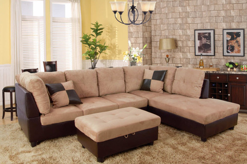 ANNIE SECTIONAL WITH ACCENT PILLOWS IN SAND (LEFT FACING SOFA)