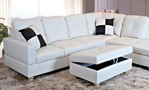 2 PCS ETHAN WHITE SECTIONAL WITH ACCENT PILLOWS (LEFT FACING SOFA) - F092B