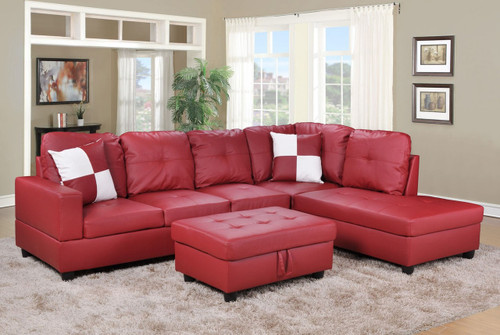 2PC ETHAN SECTIONAL WITH ACCENT PILLOWS IN RED (LEFT FACING SOFA)
