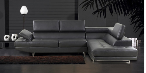 2 PCS DANIEL GREY SECTIONAL WITH ACCENT PILLOWS (LEFT FACING SOFA)