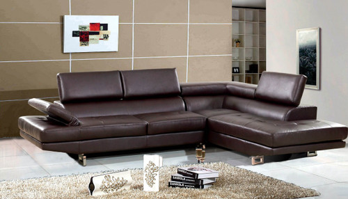 2 PCS JOSE BROWN SECTIONAL WITH ACCENT PILLOWS (LEFT FACING SOFA)