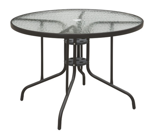 OUTDOOR ROUND TABLE DARK BROWN METAL FINISH