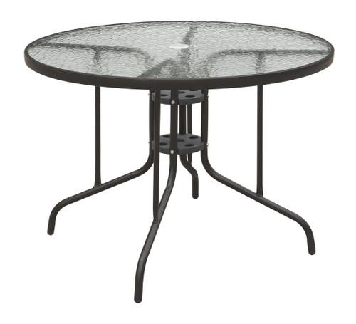 OUTDOOR ROUND TABLE DARK BROWN METAL FINISH