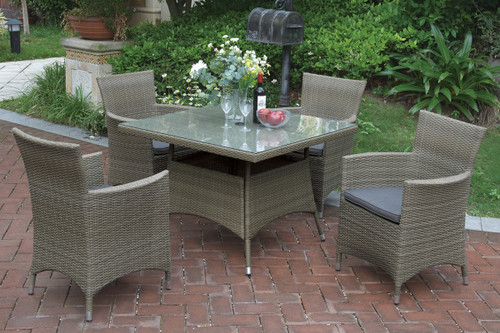 5PCS OUTDOOR PATIO TABLE SET TAN FINISH