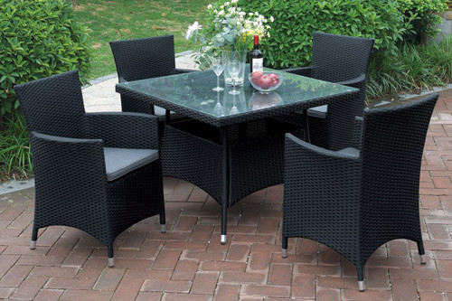 5PCS OUTDOOR PATIO TABLE SET TANNED RUST FREE AND WEATHER RESISTANT