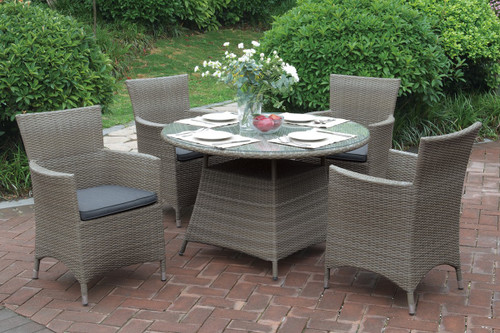 5PCS TAN OUTDOOR PATIO ROUND TABLE SET