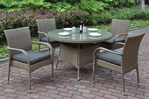 5PCS OUTDOOR PATIO TABLE SET TANNED DURABLE WICKER RESIN FINISH