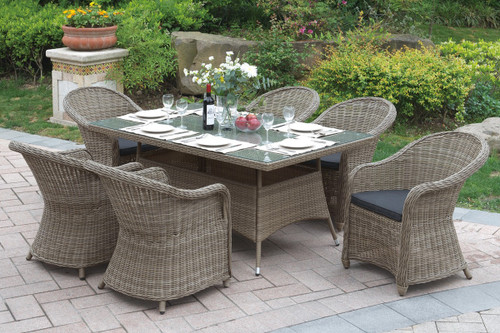 7PCS COTTAGE STYLE OUTDOOR PATIO TABLE SET TANNED RESIN WICKER FINISH