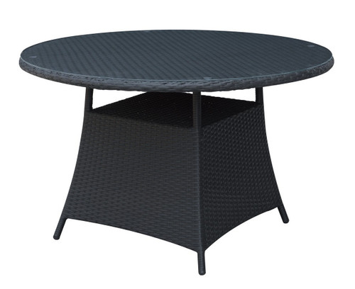 OUTDOOR ROUND TABLE IN ALUMINUM AND DARK BROWN RESIN WICKER FINISH