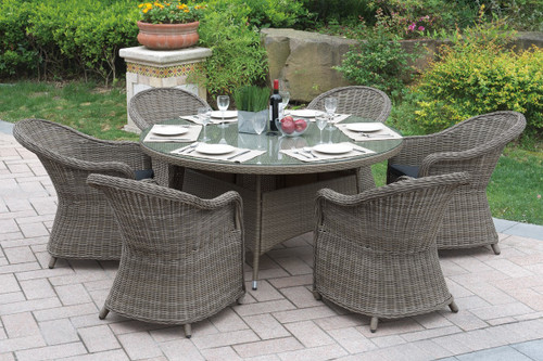 7PCS OUTDOOR PATIO SET WITH LARGE ROUND SHAPED TABLE
