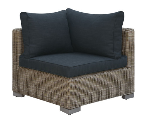 OUTDOOR CORNER WEDGE TAN RESIN WICKER FINISH WITH BLACK SEAT AND BACK CUSHIONS