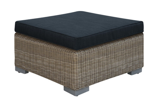 OUTDOOR OTTOMAN TAN RESIN WICKER WITH BLACK TOP CUSHION
