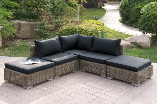 VERSATILE 5PC OUTDOOR PATIO SOFA SET WITH TWO OTTOMAN IN TAN RESIN WICKER FINISH AND BLACK SEAT CUSHIONS