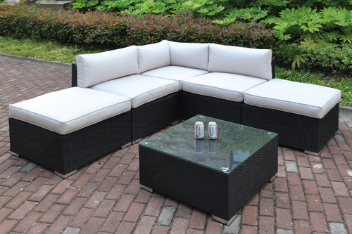 6PC OUTDOOR PATIO SECTIONAL SET IN DARK BROWN RESIN WICKER AND CREAM SEAT AND BACK SEAT CUSHIONS