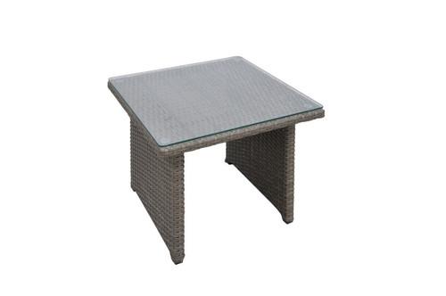 OUTDOOR SIDE TABLE IN TAN RESIN WICKER