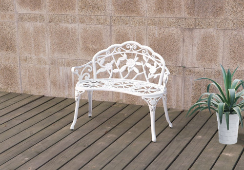 MAJESTIC FLORAL PATTERN OUTDOOR BENCH WHITE
