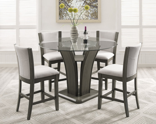 CAMELIA COUNTER HEIGHT DINING TABLE TOP 5 PC Set - Grey - 1710GY-5P