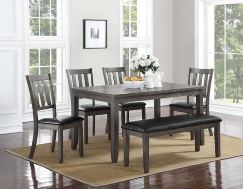 COSGROVE DINING TABLE TOP & BENCH 6 PC Set - GREY