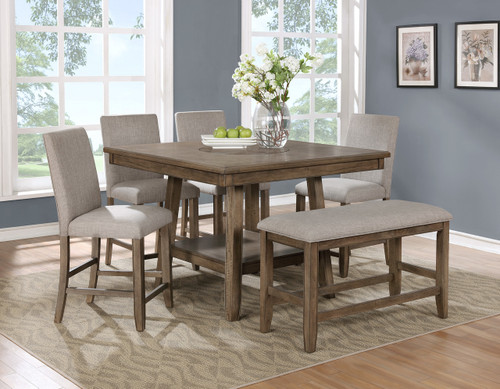 MANNING COUNTER HEIGHT TABLE TOP & BENCH 6 PC Set - 2731