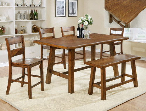 LORENZA COUNTER HEIGHT TABLE TOP & BENCH 6 PC Set