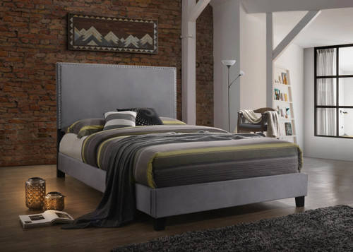 DELORA Queen Size Bed in Gray