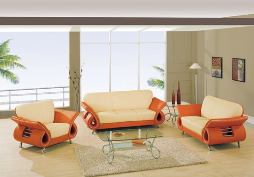 SEAN CONTEMPORARY LEATHER SOFA AND LOVESEAT IN ORANGE/BEIGE