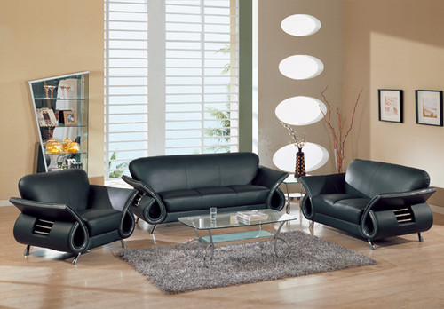 BLACK Leather SOFA Loveseat SET