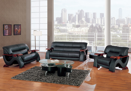 Sofa SET in BLACK Bonded Leather