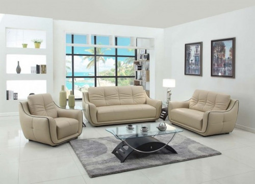 TATYA LEATHER SOFA AND LOVESEAT IN BEIGE