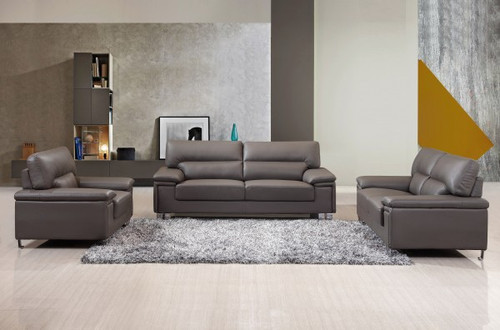 WINNIE CONTEMPORARY LEATHER SOFA AND LOVESEAT IN CHARCOAL