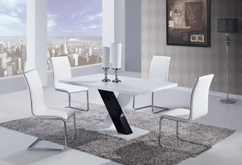 MODERN 5 PIECE D490 DINING SET - WHITE