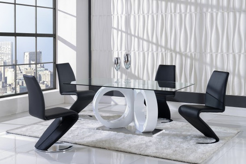 MODERN 5 PIECE D9002 DINING SET -WHITE/BLACK