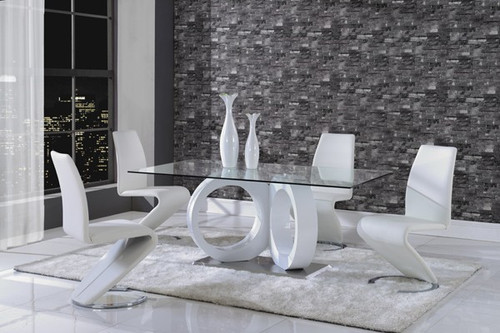 ALISHA CONTEMPORARY DINING SET (5PC SET)- WHITE