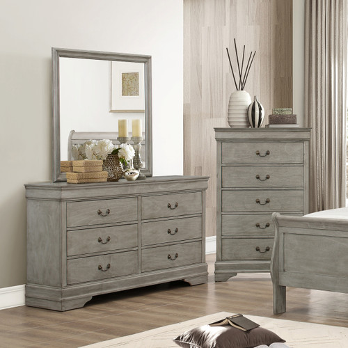 LOUIS PHILIP 6-D DRESSER GREY-B3500/1