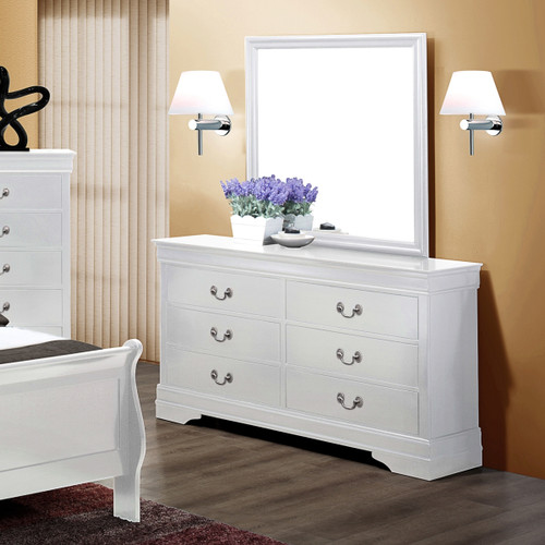 LOUIS PHILIP 6-D DRESSER WHITE-B3600/1