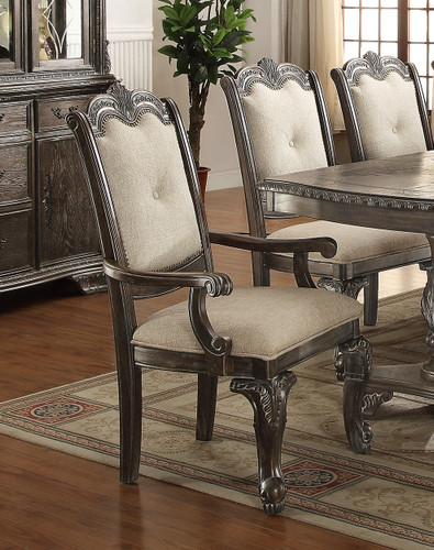 KIERA ARM CHAIR GREY 2 PCS SET