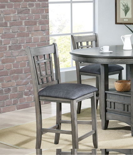 """EMPIRE COUNTER HEIGHT CHAIR 24"""" H GREY 2 PCS SET"""